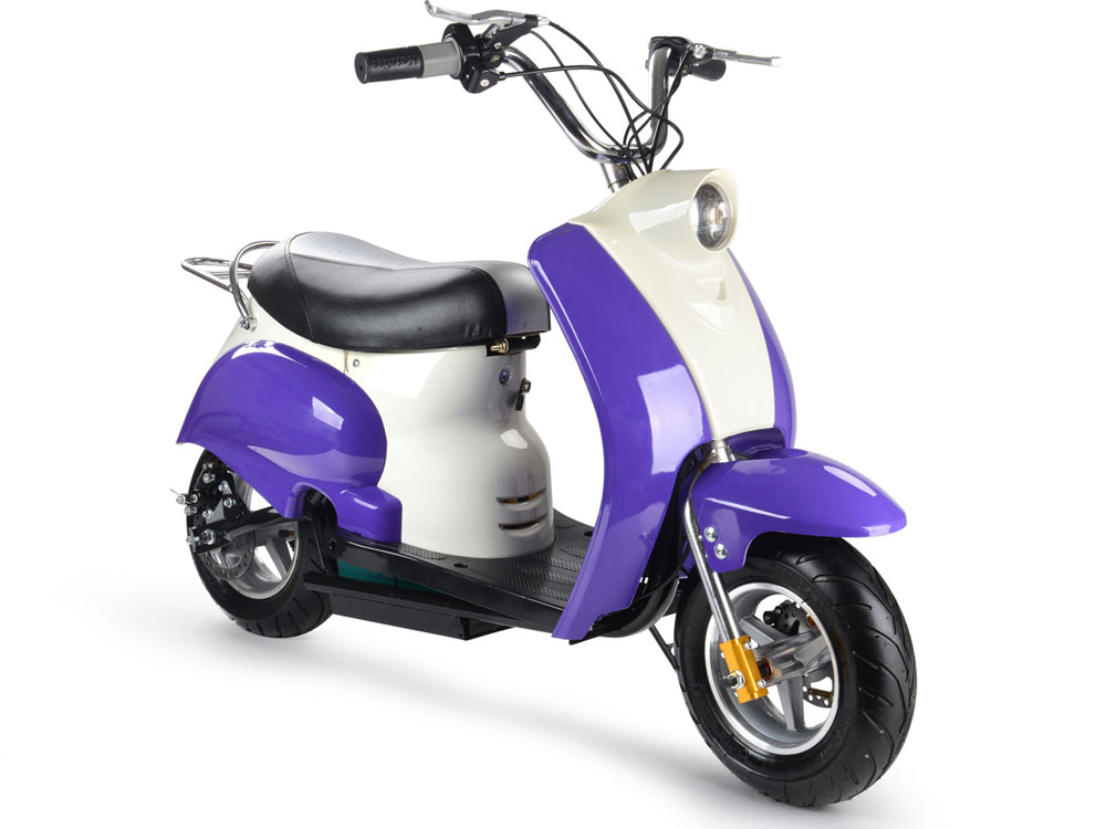 Zenith Electric Mini Moped Scooter, 24v Purple