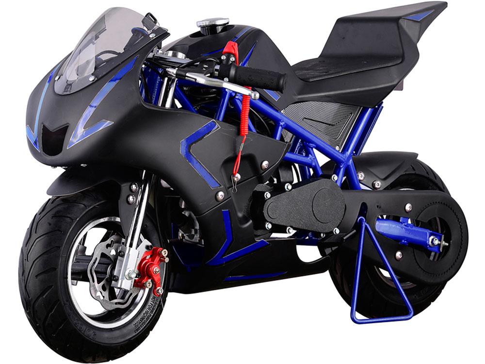 mototec cali gas pocket bike 40cc 4 stroke blue. Black Bedroom Furniture Sets. Home Design Ideas