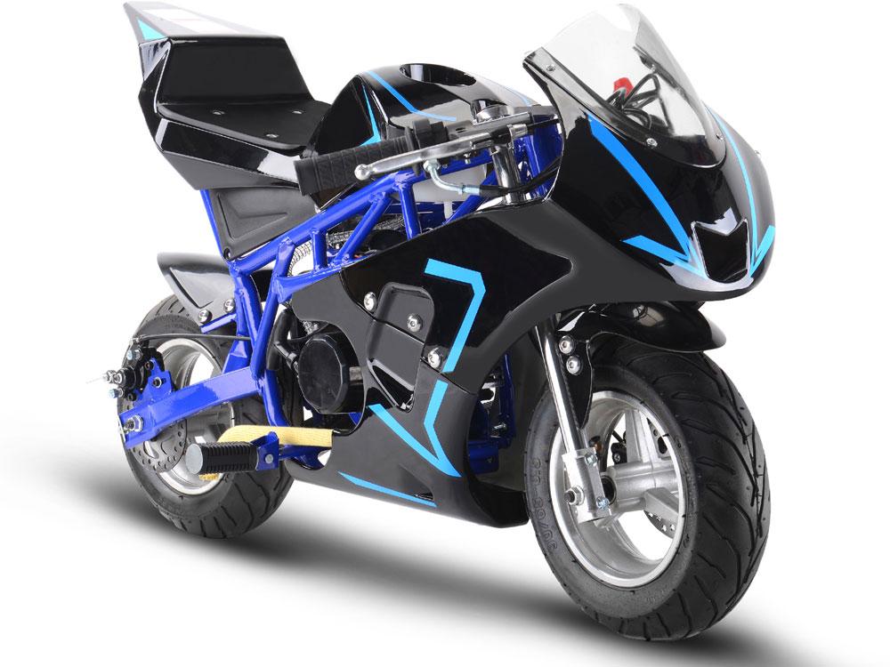 mototec gas pocket bike gp 33cc 2 stroke blue. Black Bedroom Furniture Sets. Home Design Ideas